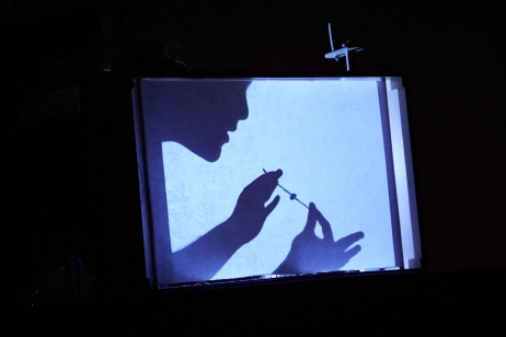 Shadow puppetry inside crankie